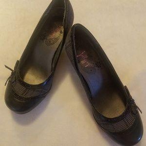 Black/Plaid Jellypop High Heel Shoes - Size 7